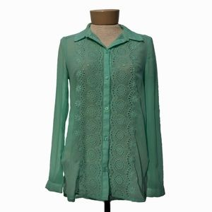 LC Lauren Conrad Embroidered Eyelet Mint Blouse XS
